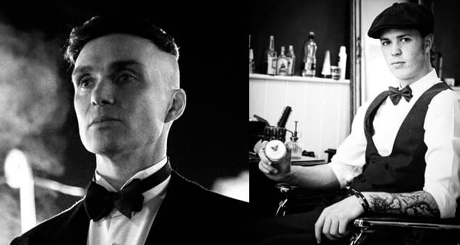 Peaky blinders hairbond tommy shelby haircut hair styling black and white barber